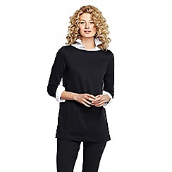 Lands' End - Black women's petite starfish french terry boatneck tunic