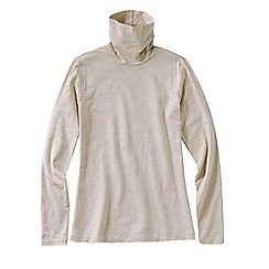 Lands' End - Beige women's tall fitted cotton/modal roll neck