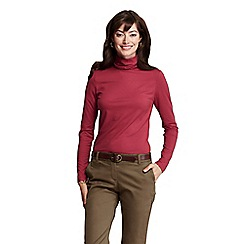 Lands' End - Pink women's tall fitted cotton/modal roll neck
