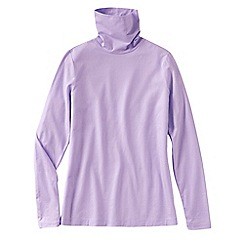 Lands' End - Purple women's tall fitted cotton/modal roll neck