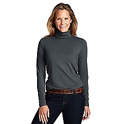 Lands' End - Grey women's tall fitted cotton/modal roll neck