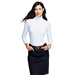 Lands' End - White women's tall fitted cotton/modal roll neck