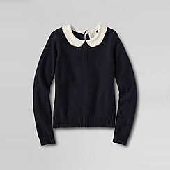 Lands' End - Black girls' sequin trimmed faux collar jumper