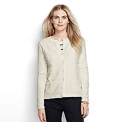 Lands' End - Cream supima lace front pocket cardigan