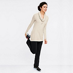 Lands' End - Beige women's soft-stretch cowl neck sweatshirt