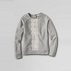 Lands' End - Grey girls' lace panel loopback jersey sweatshirt