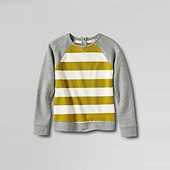 Lands' End - Grey girls' stripe loopback jersey sweatshirt