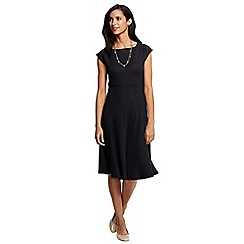 Lands' End - Black women's ponte jersey flounce skirt dress