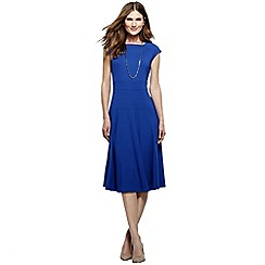 Lands' End - Blue women's ponte jersey flounce skirt dress