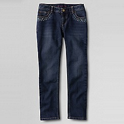 Lands' End - Blue little girls' rhinestone embellished pencil leg jeans
