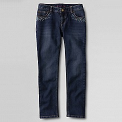Lands' End - Blue girls' rhinestone embellished pencil leg jeans