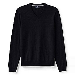 Lands' End - Black men's v-neck cashmere sweater