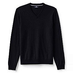 Lands' End - Black men's v-neck cashmere sweater