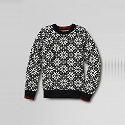 Lands' End - Black boy's pattern crew neck jumper
