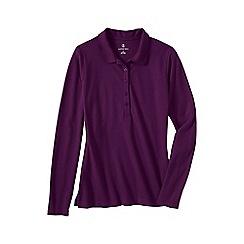 Lands' End - Purple petite slim fit long sleeve pique polo