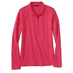 Lands' End - Pink women's slim fit long sleeve pima polo