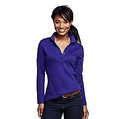 Lands' End - Blue women's slim fit long sleeve pima polo