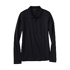 Lands' End - Black women's slim fit long sleeve pima polo