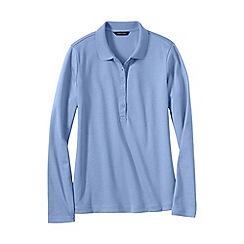 Lands' End - Blue women's slim fit long sleeve pima polo