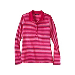 Lands' End - Pink petite slim fit long sleeve stripe pima polo