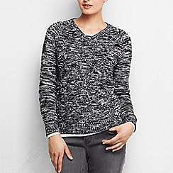 Lands' End - Black women's marled basket weave drifter v-neck jumper