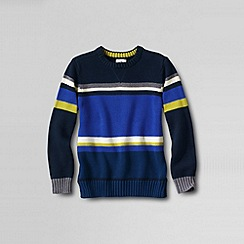 Lands' End - Blue boy's pattern block crew neck jumper