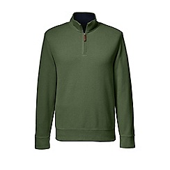 Lands' End - Green brushed rib pieced collar half-zip pullover