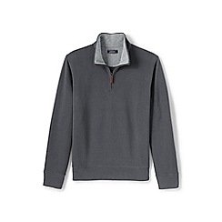 Lands' End - Grey brushed rib half-zip pullover