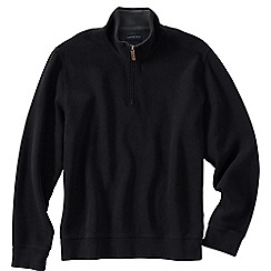 Lands' End - Black men's brushed rib pieced collar half-zip pullover