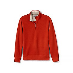 Lands' End - Orange brushed rib pieced collar half-zip pullover