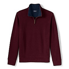 Lands' End - Red brushed rib half-zip pullover