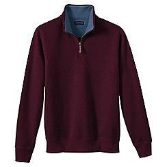 Lands' End - Red men's brushed rib pieced collar half-zip pullover