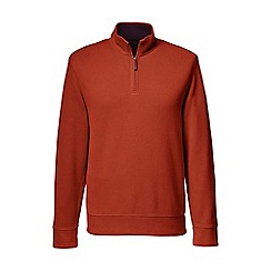 Lands' End - Orange men's brushed rib pieced collar half-zip pullover