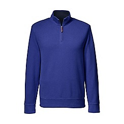 Lands' End - Blue men's brushed rib pieced collar half-zip pullover