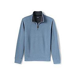 Lands' End - Blue brushed rib half-zip pullover