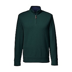 Lands' End - Green men's brushed rib pieced collar half-zip pullover
