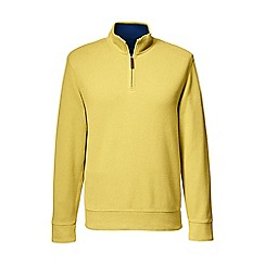 Lands' End - Yellow brushed rib pieced collar half-zip pullover