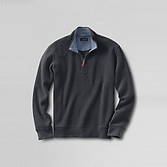 Lands' End - Grey men's brushed rib pieced collar half-zip pullover