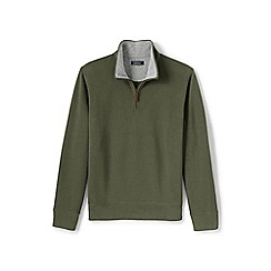 Lands' End - Green brushed rib half-zip pullover