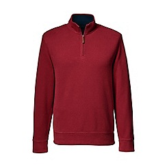 Lands' End - Red brushed rib pieced collar half-zip pullover
