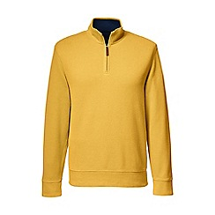 Lands' End - Gold men's brushed rib pieced collar half-zip pullover