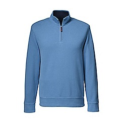 Lands' End - Blue brushed rib pieced collar half-zip pullover