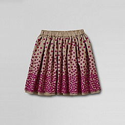 Lands' End - Beige girls' embroidered taffeta skirt