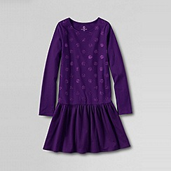 Lands' End - Purple little girls' long sleeved sparkle jersey dress