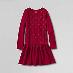 Lands' End - Red little girls' long sleeved sparkle jersey dress