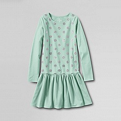 Lands' End - Green girls' long sleeved sparkle jersey dress