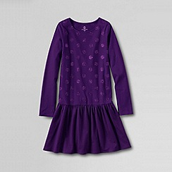 Lands' End - Purple girls' long sleeved sparkle jersey dress