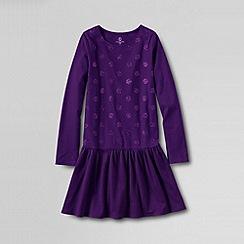 Lands' End - Purple girls' long sleeved sparkle jersey dress