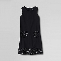 Lands' End - Black little girls' sleeveless sequin ponte dress