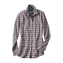 Lands' End - Cream women's chambray-trimmed flannel shirt